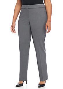 Plus Size Solid Stretch Slim Pants