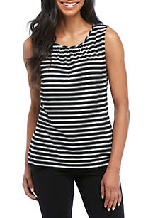 Sleeveless Stripe Cami with Front Pleat