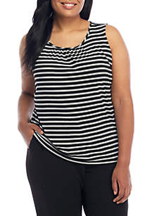 Plus Size Sleeveless Stripe Cami With Front Pleat