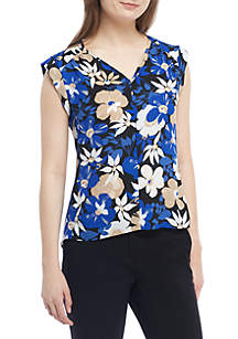 Cap Sleeve Printed V-Neck Top With Keyhole Back