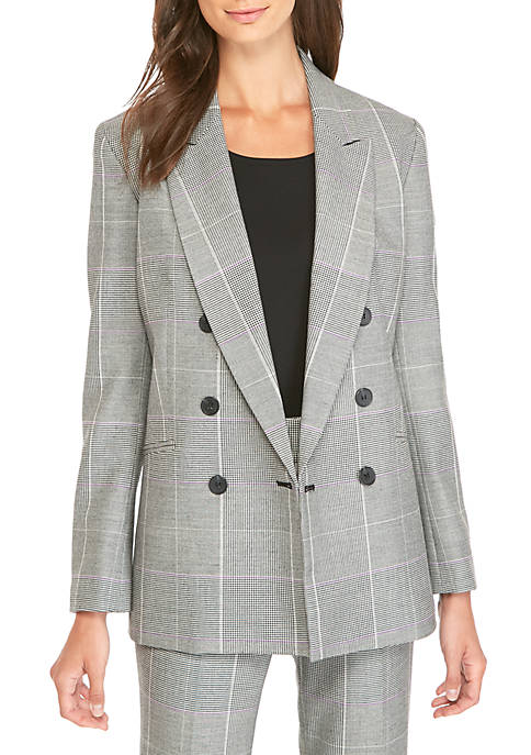 Nine West Plaid Double Breasted Jacket