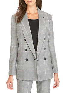 Plaid Double Breasted Jacket