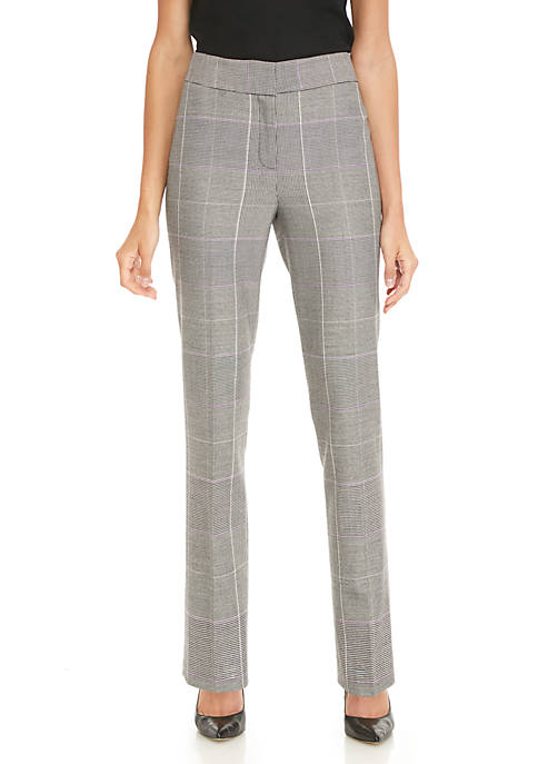 Plaid Straight Slim Pants