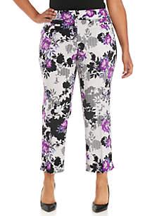 Plus Size Floral Print Straight Pant