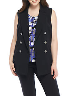 Plus Size Sleeveless Double Peak Lapel Stretch Crepe Vest