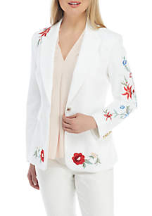 1 Button Embroidered Jacket