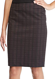Plaid Knit Slim Skirt