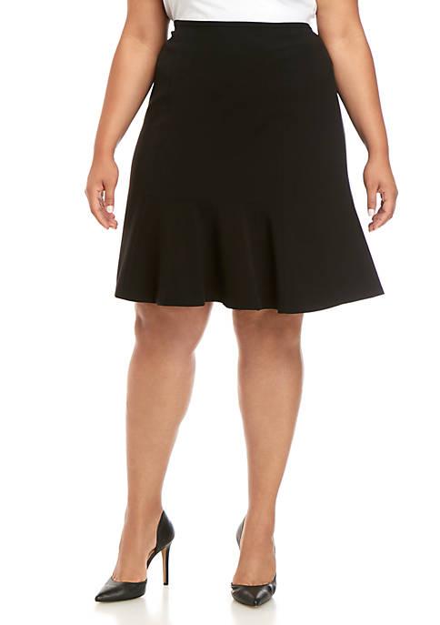 Plus Size Flared Hem Skirt