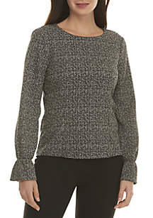 Long Sleeve Bell Cuff Tweed Woven Top