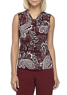 Paisley Printed Sleeveless Crossover Neck Top
