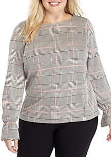 Plus Size Long Sleeve Ruffle Cuff Knit Plaid Blouse