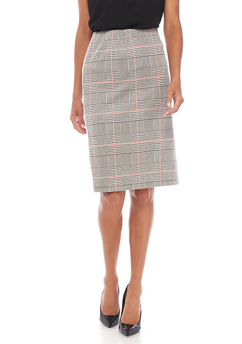 Nine West Plus Size Knit Plaid Slim Skirt