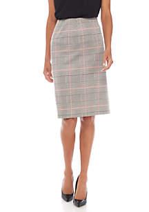 Plus Size Knit Plaid Slim Skirt