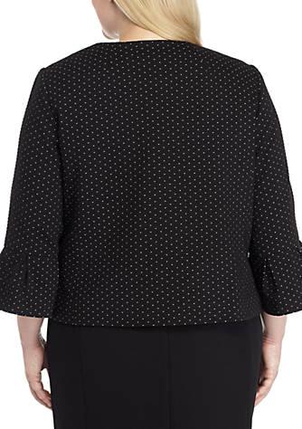 415db692e68 Nine West Plus Size Ruffle Sleeve Knit Kiss Front Jacket