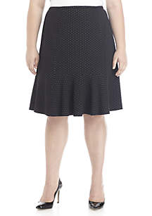 Plus Size Knit Flare Skirt