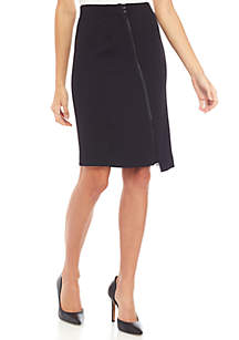 Diagonal Slit Stretch Skirt