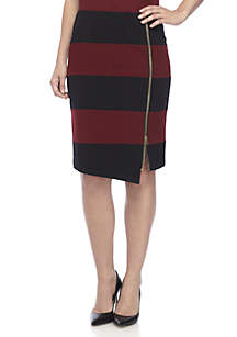 Asymmetrical Horizontal Striped Skirt