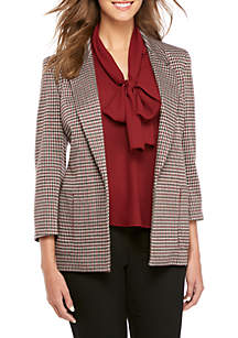 Houndstooth Notch Collar Kiss-Front Jacket