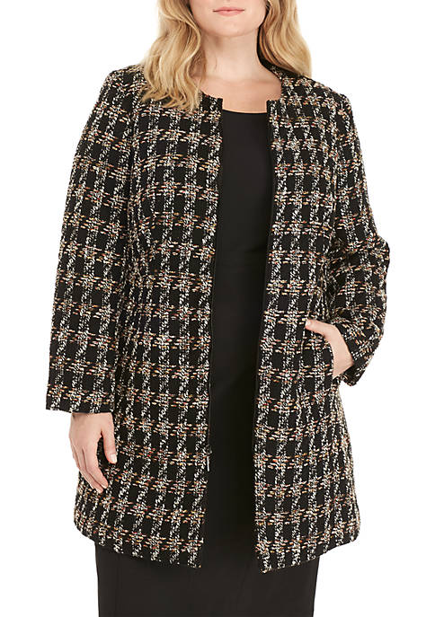 Nine West Plus Size Plaid Topper