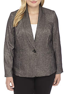 Plus Size Single-Button Tweed Shawl Collar Jacket