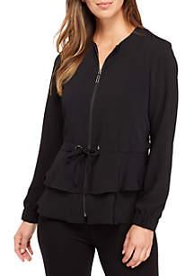 Crepe Jacket With Drawstring Waist