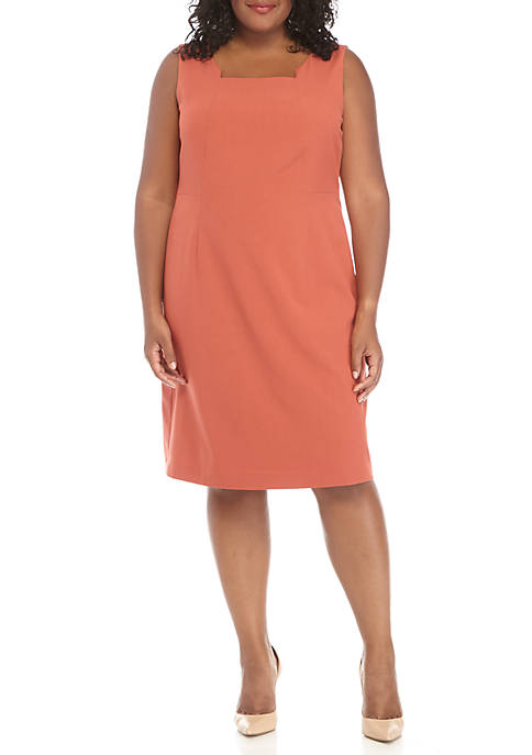 Nine West Plus Size Sleeveless Square Neck Dress