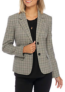 Two-Button Notch Collar Plaid Jacket