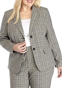 Plus Size Plaid Jacket