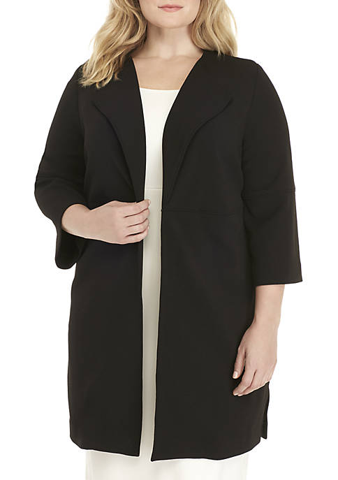 Nine West Plus Size Wide Lapel Collar Woven