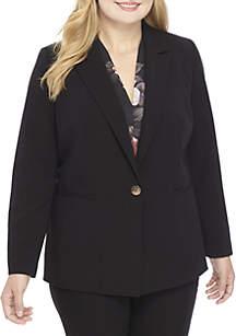 Plus Size Two-Button Peak Lapel Jacket