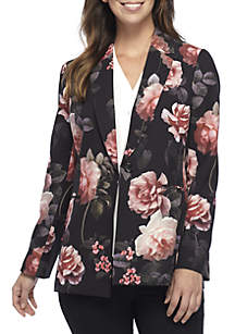 One Button Floral Print Jacket