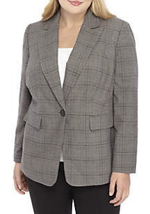 Plus Size Single-Button Plaid Jacket