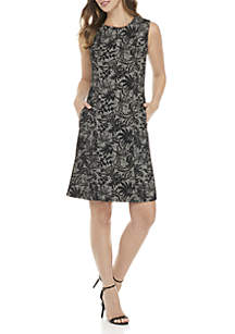 Sleeveless Jacquard Flare Dress