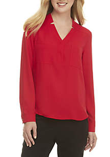 Solid Long Sleeve Two-Pocket Blouse