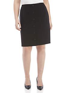 Nine West Plus Size Button Skirt