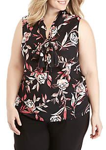 Plus Size Floral Tie Neck Blouse