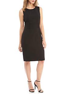 Sleeveless Belted Waist Dress