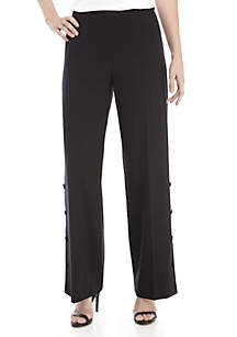 Wide Leg with Button Detail Pants