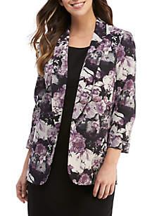 Nine West 3/4 Sleeve Floral Print Jacket