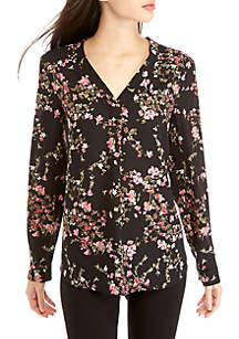 Long Sleeve V-neck Floral Print Blouse
