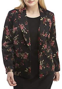 Plus Size Buttoned Floral Jacket