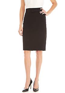 Slim Belted Stretch Skirt