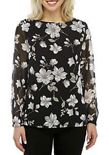 Nine West Long Sleeve Floral Print Top