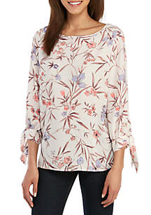 Nine West Plus Size Printed 3/4 Bow Tie Sleeve Top