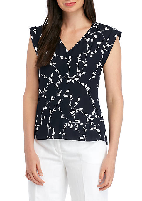 Nine West Printed V Neck Keyhole Back Top