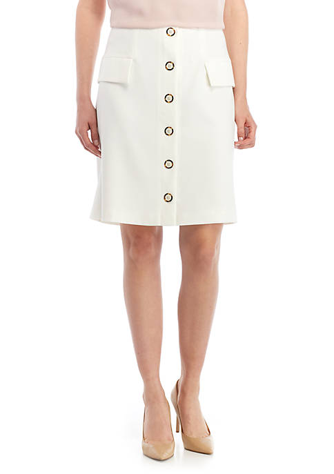 Button Front Skirt With Pocket Details
