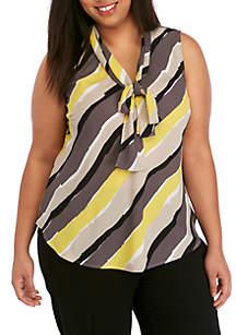 144d70074ac ... Nine West Plus Size Sleeveless Diagonal Stripe Tie Neck Top