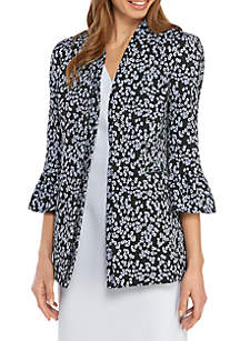 Nine West Ruffle Bell Sleeve Floral Jacket