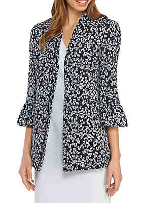 f8cde19ed7493 Nine West Ruffle Bell Sleeve Floral Jacket ...