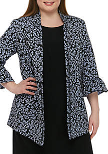 3768d164e84 ... Nine West Plus Size Floral Ruffle Bell Sleeve Jacket